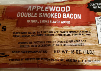 Applewood Double Smoked Bacon Webster City Custom Meats Inc. , code 0010957423524