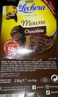 Liste des ingrédients du produit La Lechera mousse de chocolate con leche Nestlé 4 x 59 g