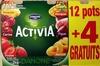 Activia (Ananas, Cerise, Fraise, Mangue, Figue, Abricot) 12 Pots + 4 Gratuits - Produit