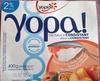 Recette au yaourt nature, sur lit de pêche et jus de fruit de la passion - Produit