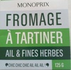 Fromage à Tartiner, Ail & Fines Herbes (24 % MG) - Produit