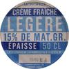 Crème fraîche légère 15 % de Mat. gr. épaisse - Produit