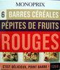 6 Barres céréales Pépites de fruits rouges Monoprix - Produit