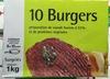 10 burgers surgelés Préparation de viande bovine à 51% et de protéines végétales - Produit