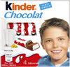 Kinder chocolat - chocolat au lait avec fourrage au lait 4 barres - Product